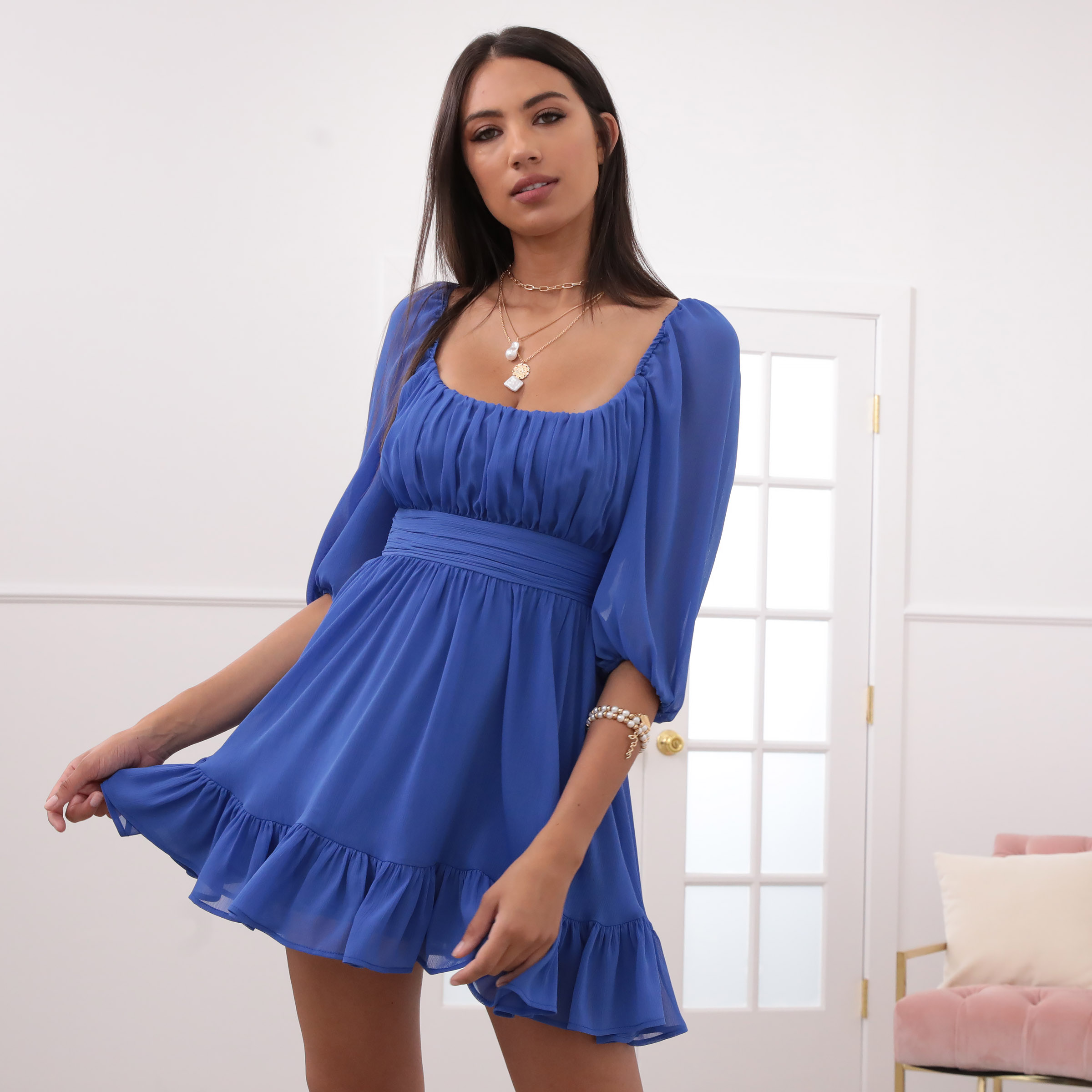 Neia Ruffle Dress in Royal Blue