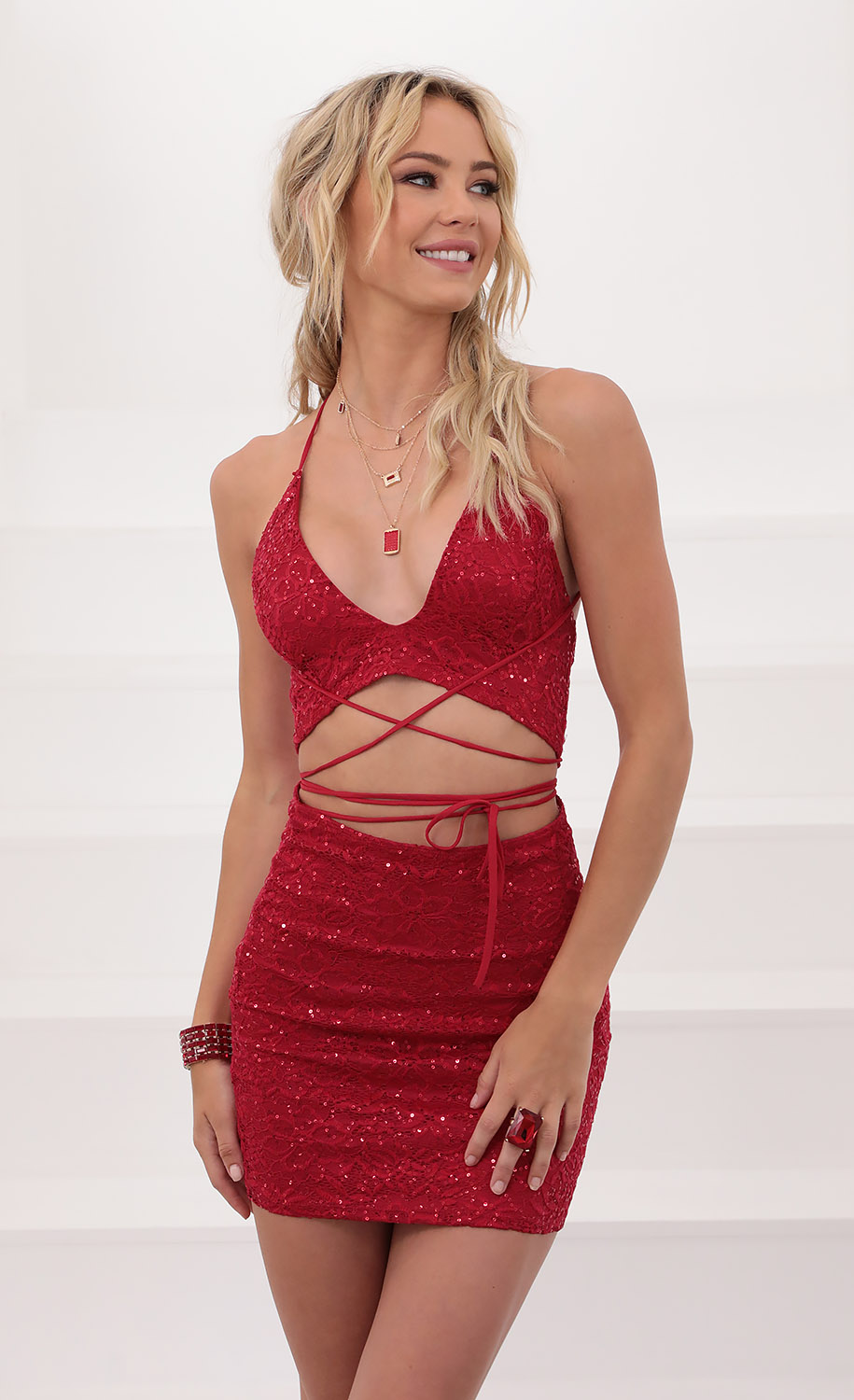 Anita Sequin Lace Set in Red