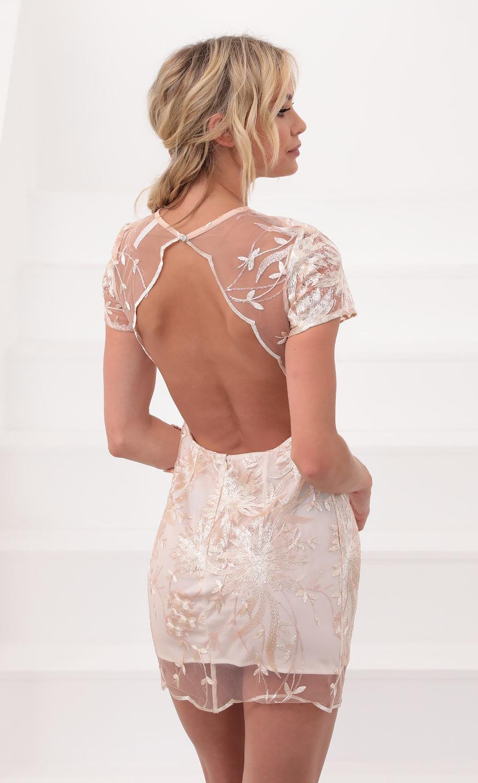 Fleur de Lace Cutout Shift Dress in Blush