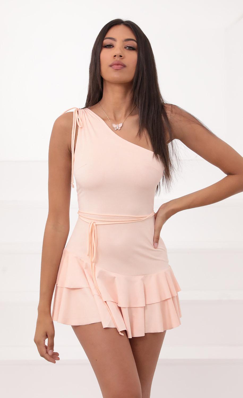 Karla Peach Suede Tie Dress