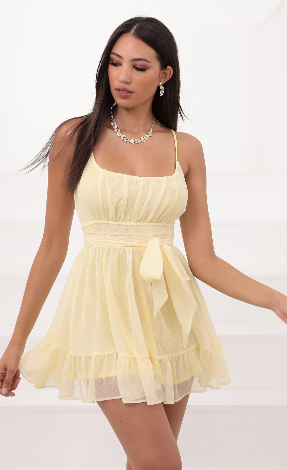Molly Ruffled Chiffon Dress in Baby Yellow