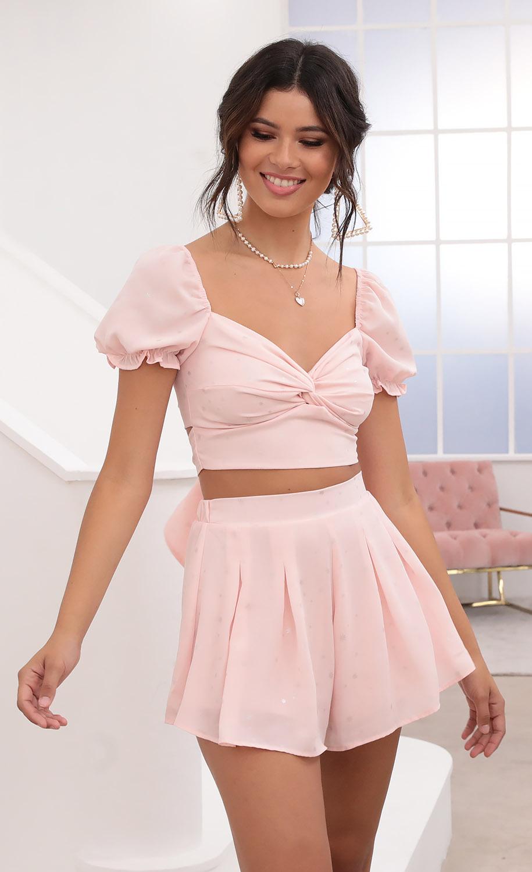 Genevieve Puff Sleeve Chiffon Set in Pink