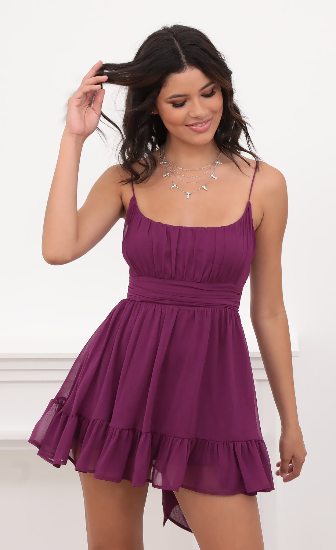 Molly Ruffled Chiffon Dress in Magenta