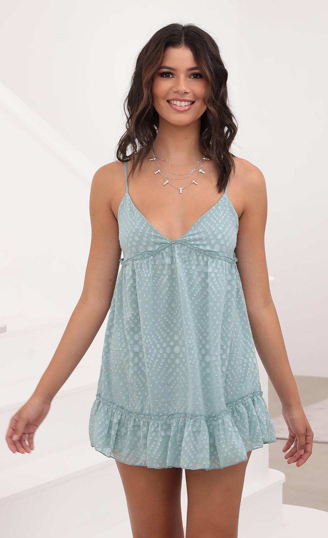 Rosa Day Dress in Blue Polka Dot Chiffon