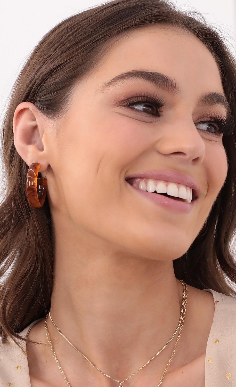 Brown Marble Baby Hoop Earrings