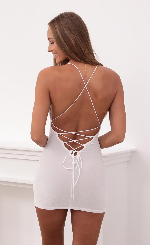 Zuri Velvet Bodycon Dress in White