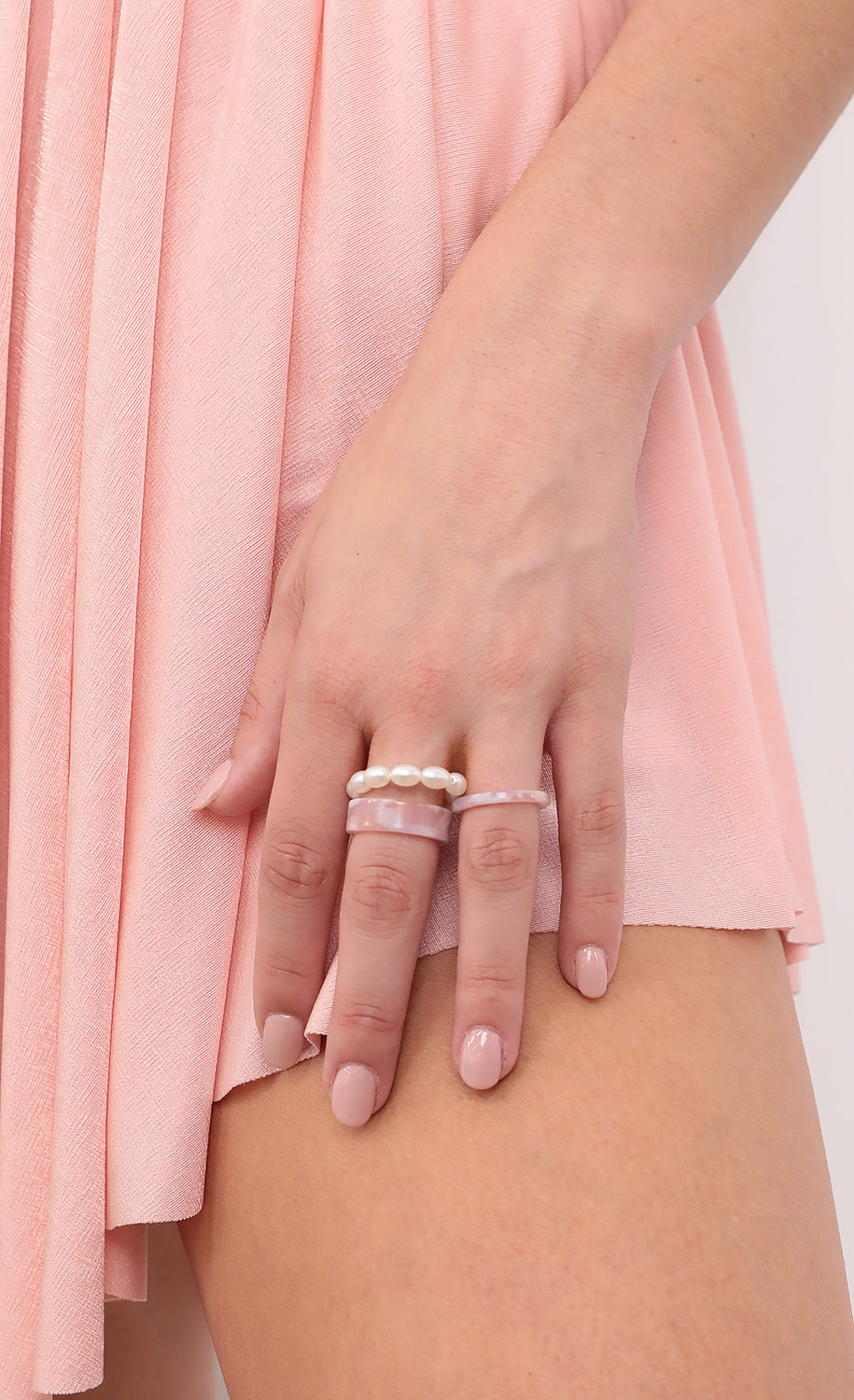Marble Mary Ring Set in Pink