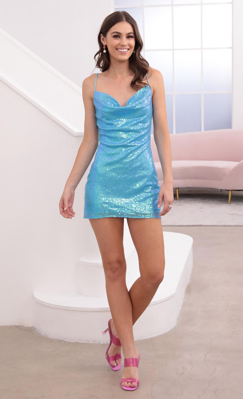 Marlene Iridescent Sequin Slip Dress in Blue