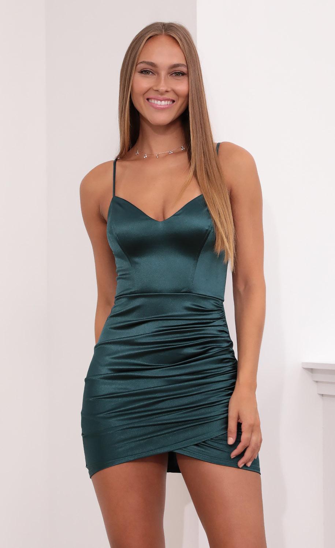 Jo Draped Bodycon Dress in Dark Turquoise