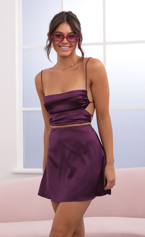 Kalyn Satin Two-Piece Set in Purple