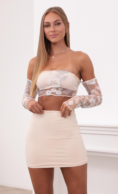 Valentina Sequin Lace Sleeve Set in Cream
