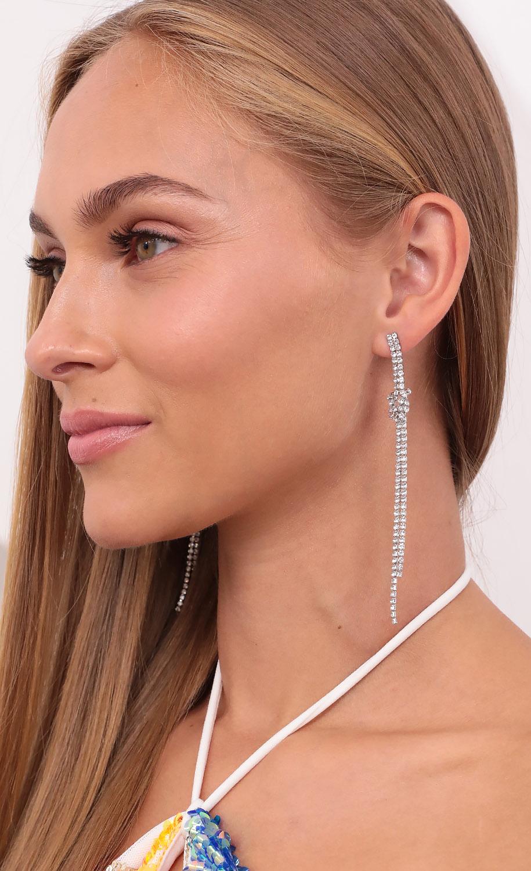 Feel My Love Crystal Fringe Earring in Silver