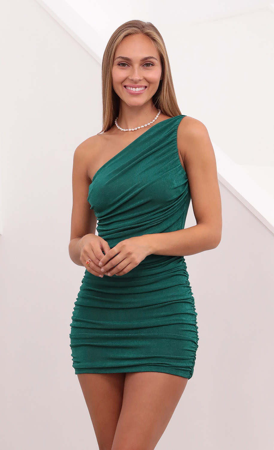 Faye Ruched One Shoulder Dress in Green
