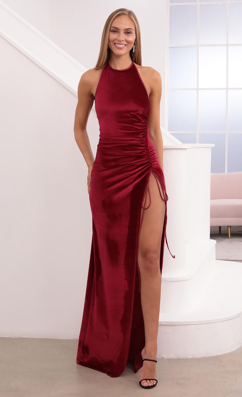 Zion Ruched Maxi Dress in Burgundy Velvet