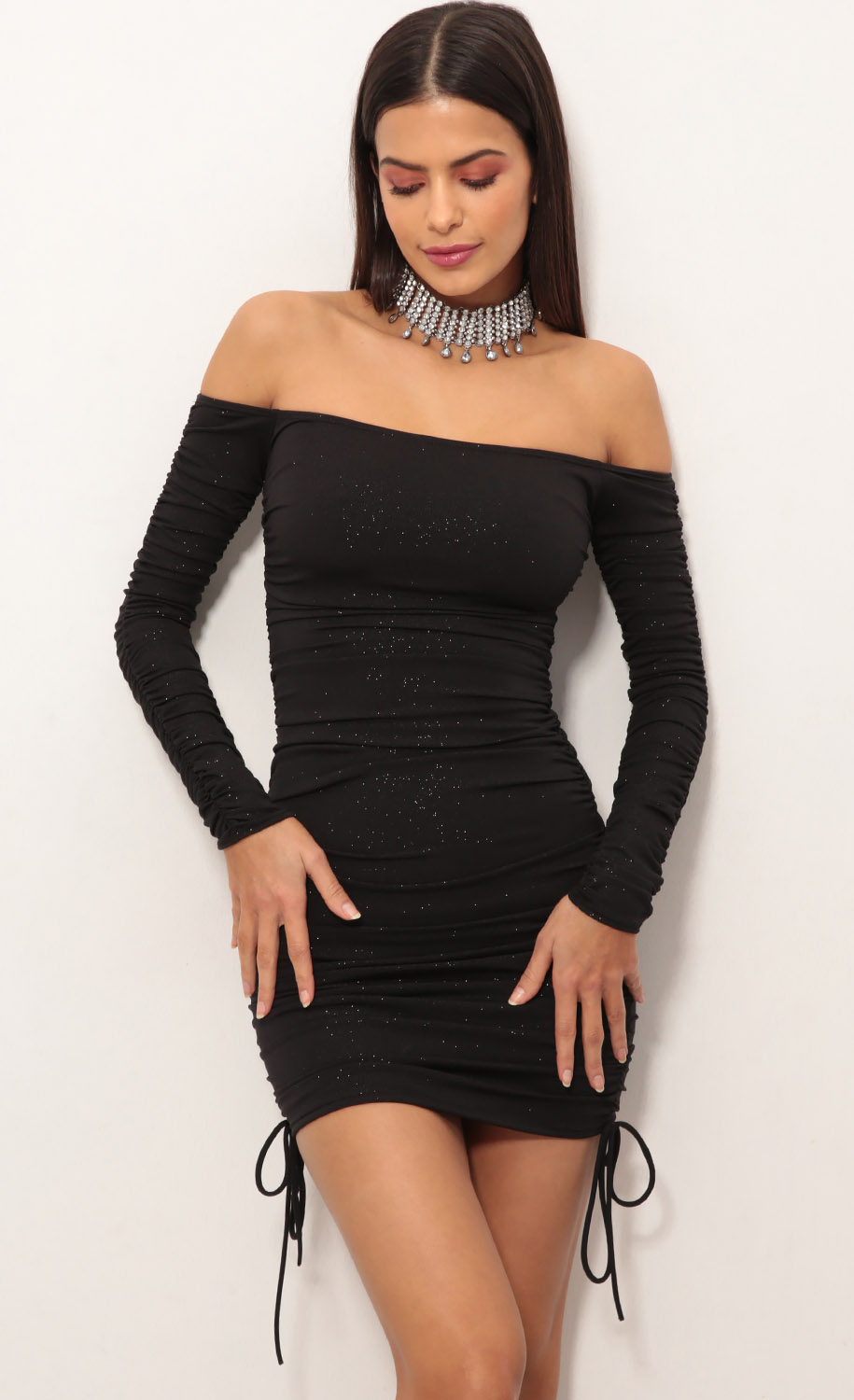 Aria Double Ruched Dress in Black Shimmer