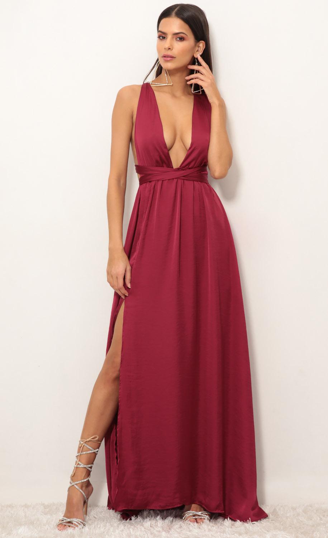 Samara Satin Maxi Dress in Merlot