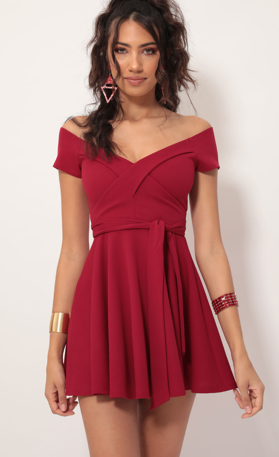 Ambrose Pleated A-line Dress in Red