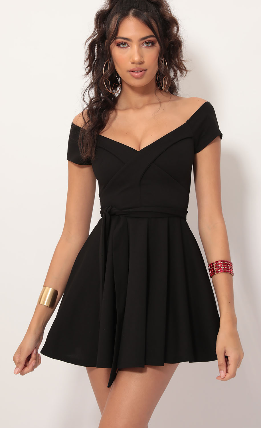 Ambrose Pleated A-line Dress in Black