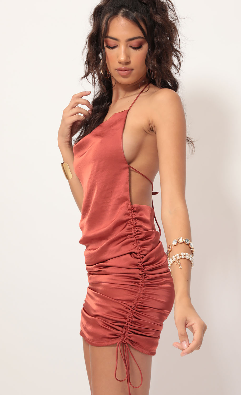 Delilah Satin Halter Plunge Back Dress in Rust