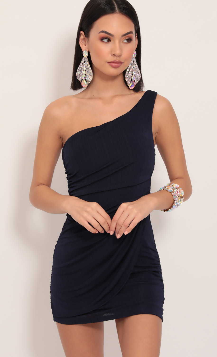 Karina Asymmetric Shoulder Dress in Navy