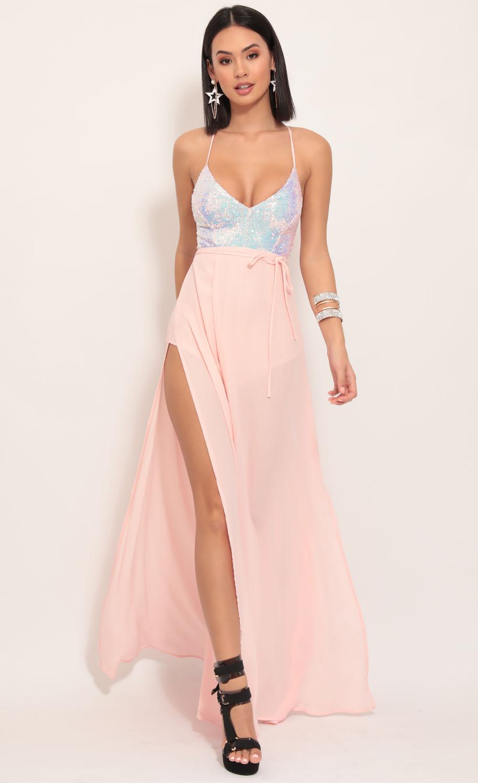 Kaylen Sequin Maxi Dress in Blush Iridescence