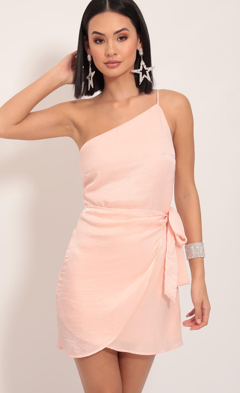 Santorini Satin Wrap Dress in Blush