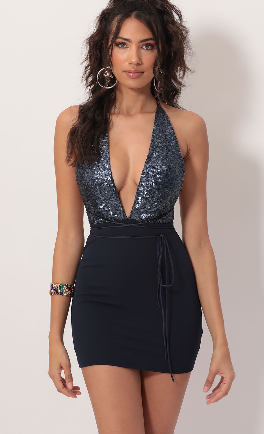 Allure Sequin Plunge Dress in Navy