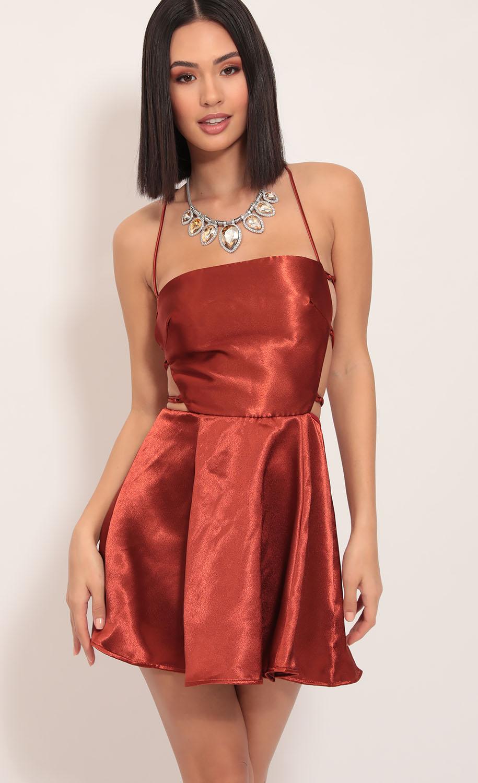 Nina Satin Cutout A-line Dress in Rust