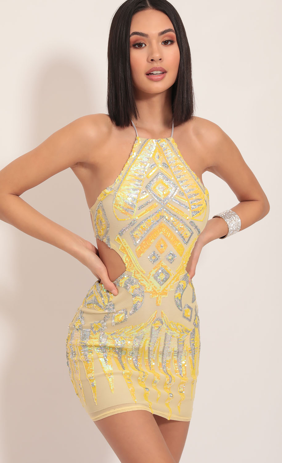 Enchanting Halter Sequin Cutout Dress in Yellow