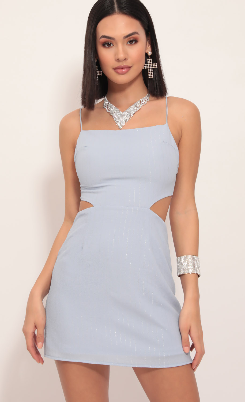 Lana Cutout Dress in Blue Pinstripes