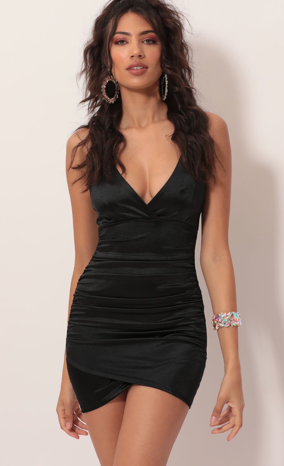 Holly Satin Ruched Cross-Back Dress in Black