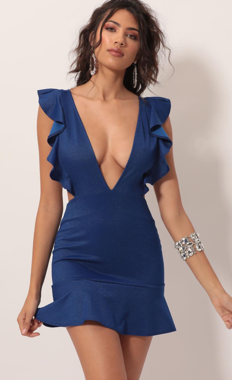 Cora Cutout Ruffle Dress in Deep Royal