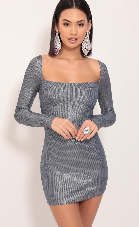 Giulia Metallic Shimmer Dress in Denim Blue