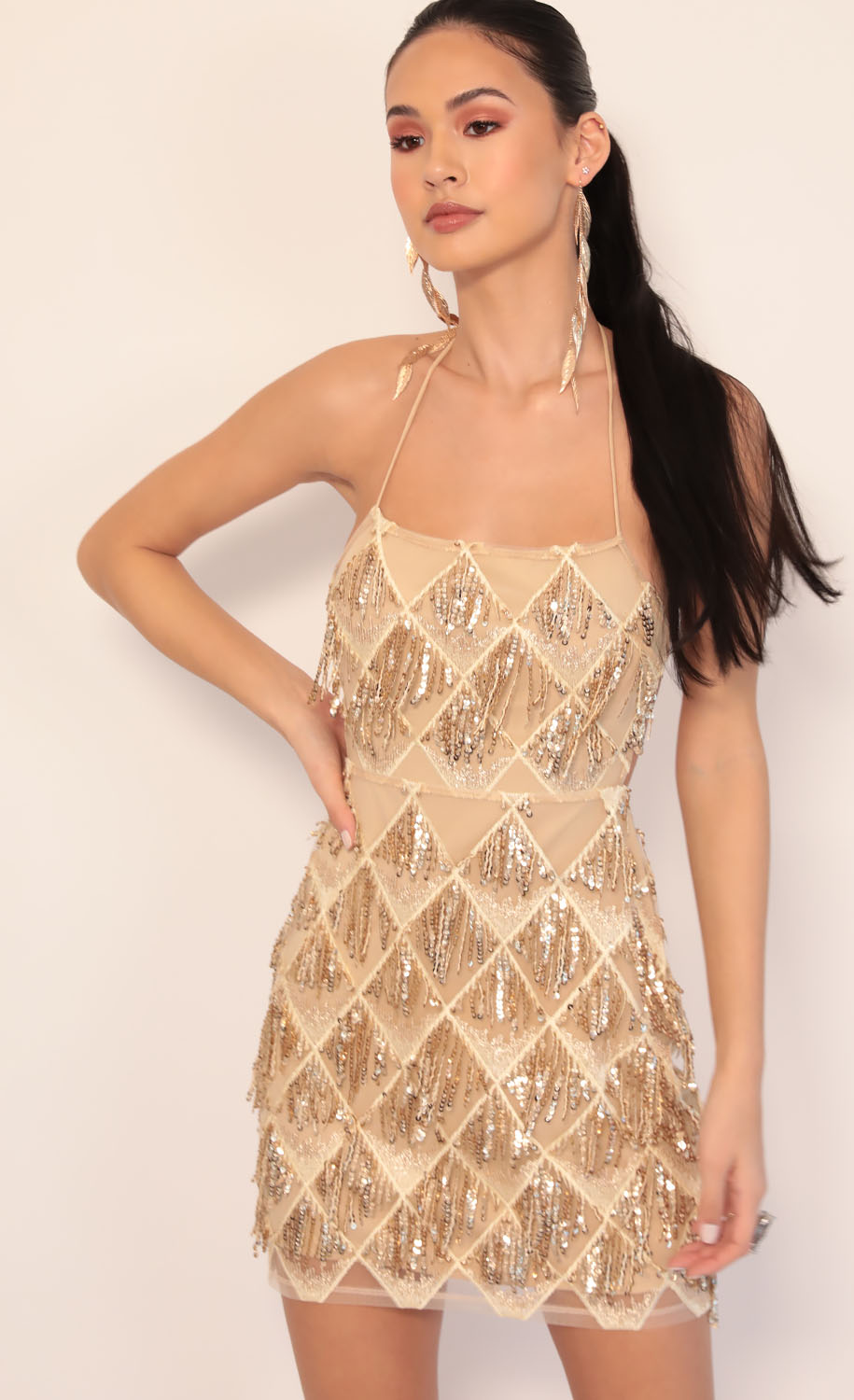 Calabria Sequin Fringe Dress in Champagne