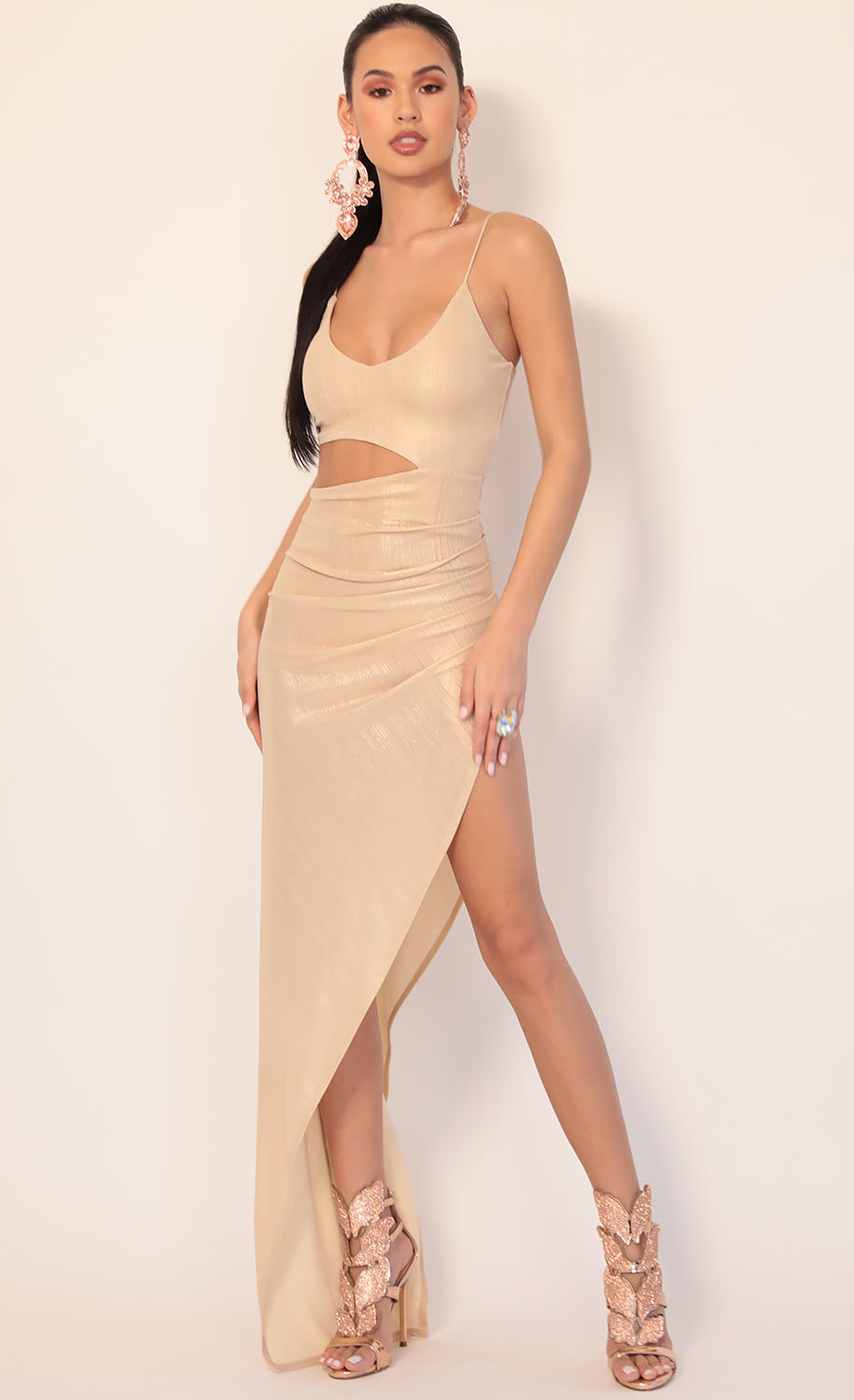 Ella Cutout Maxi Dress in Champagne