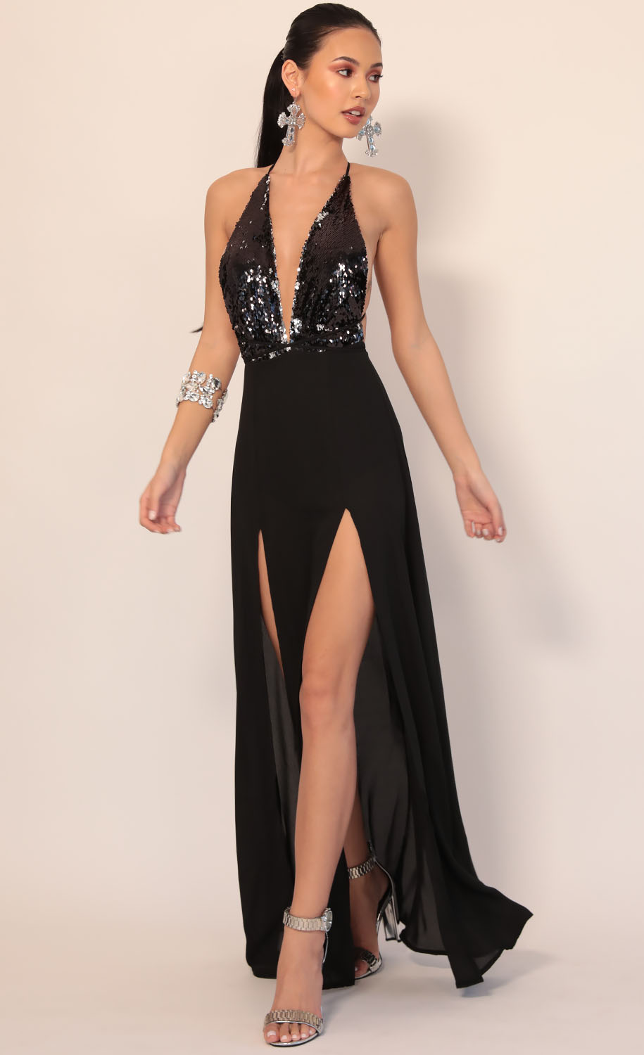 Allure Sequin Maxi Dress in Black Silver