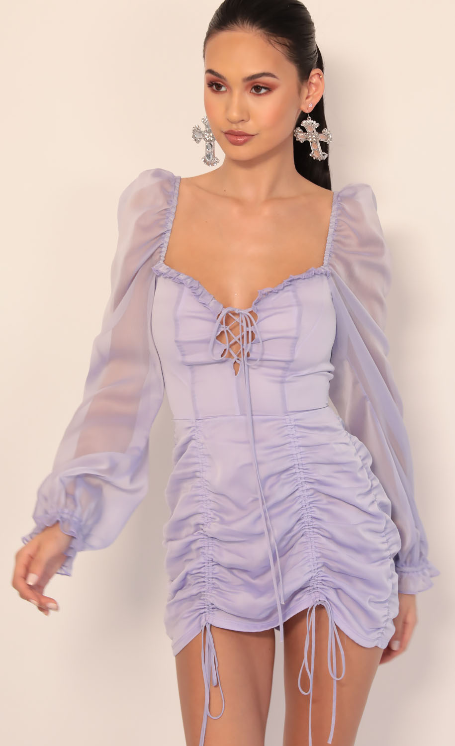 Couture Chiffon Puff Sleeve Dress in Lavender