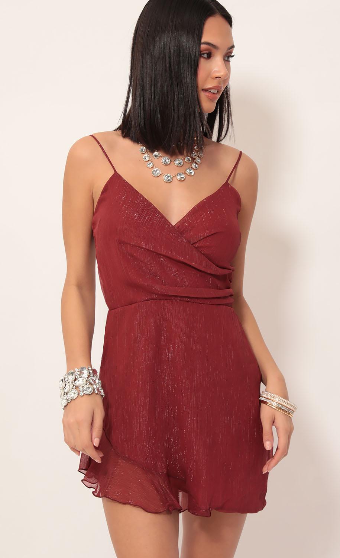Kayden Shimmer Chiffon Frill Dress in Deep Red