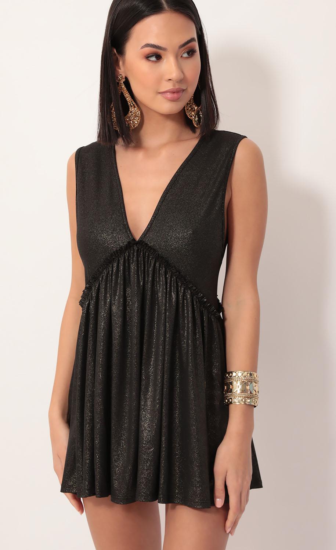 Lover Plunge A-line Dress in Black Gold
