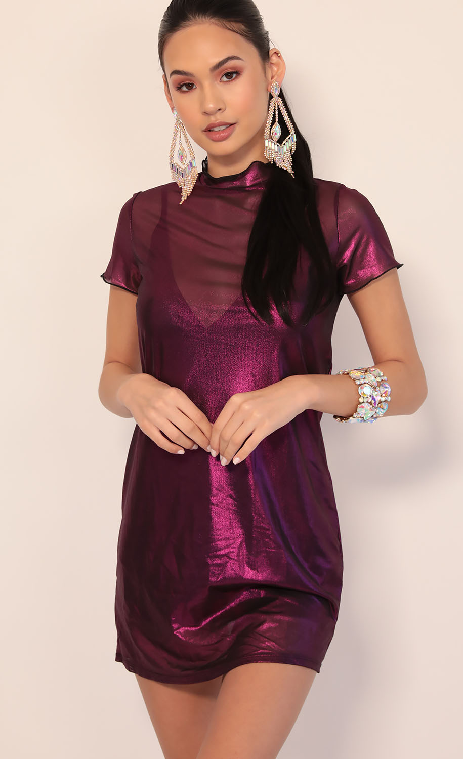 Harper Dress In Metallic Fuchsia