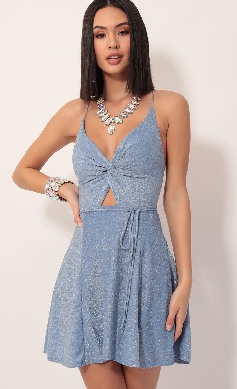 Adalee Front Twist Dress in Blue Shimmer