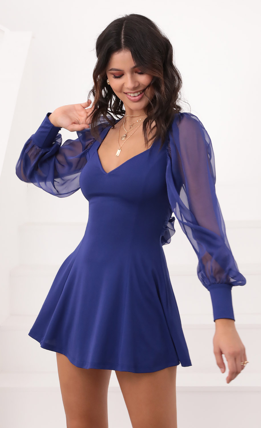 Ivy Chiffon Sleeve A-Line Dress in Royal Blue