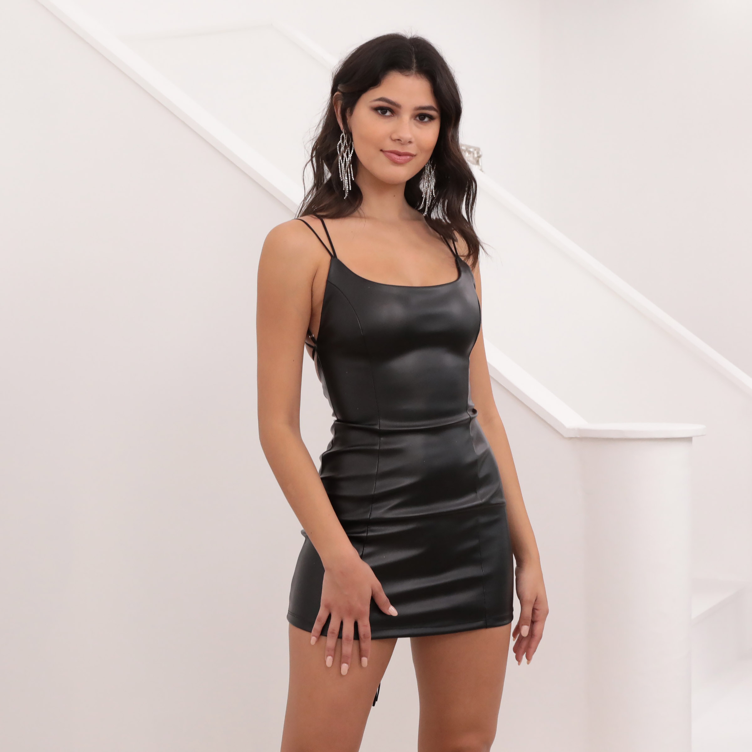 Hailey Corset Back Dress in Black Leather