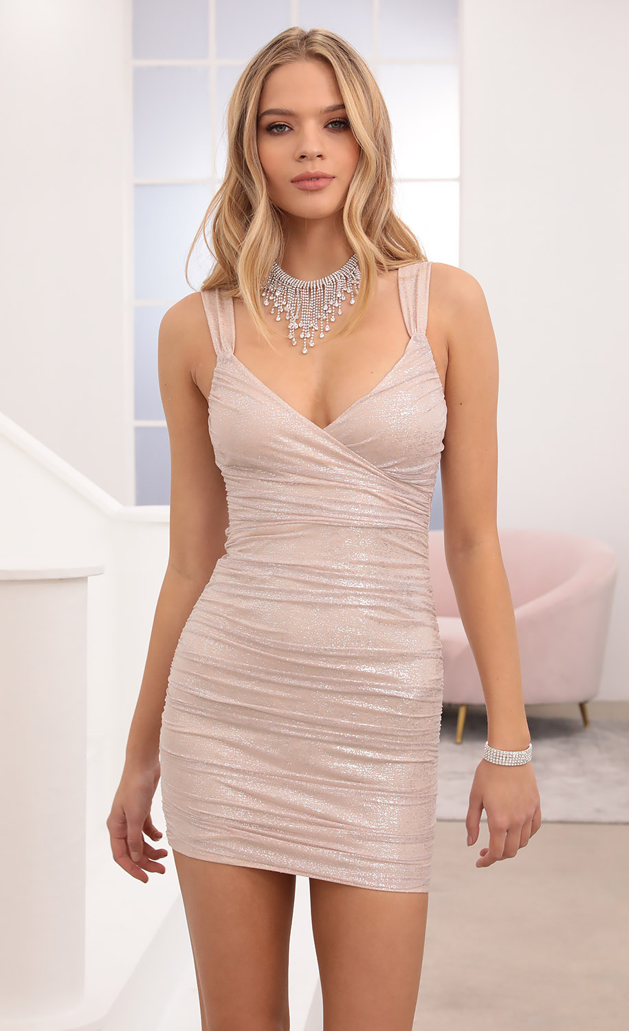 Sweetheart Mesh Dress in Pink Shimmer