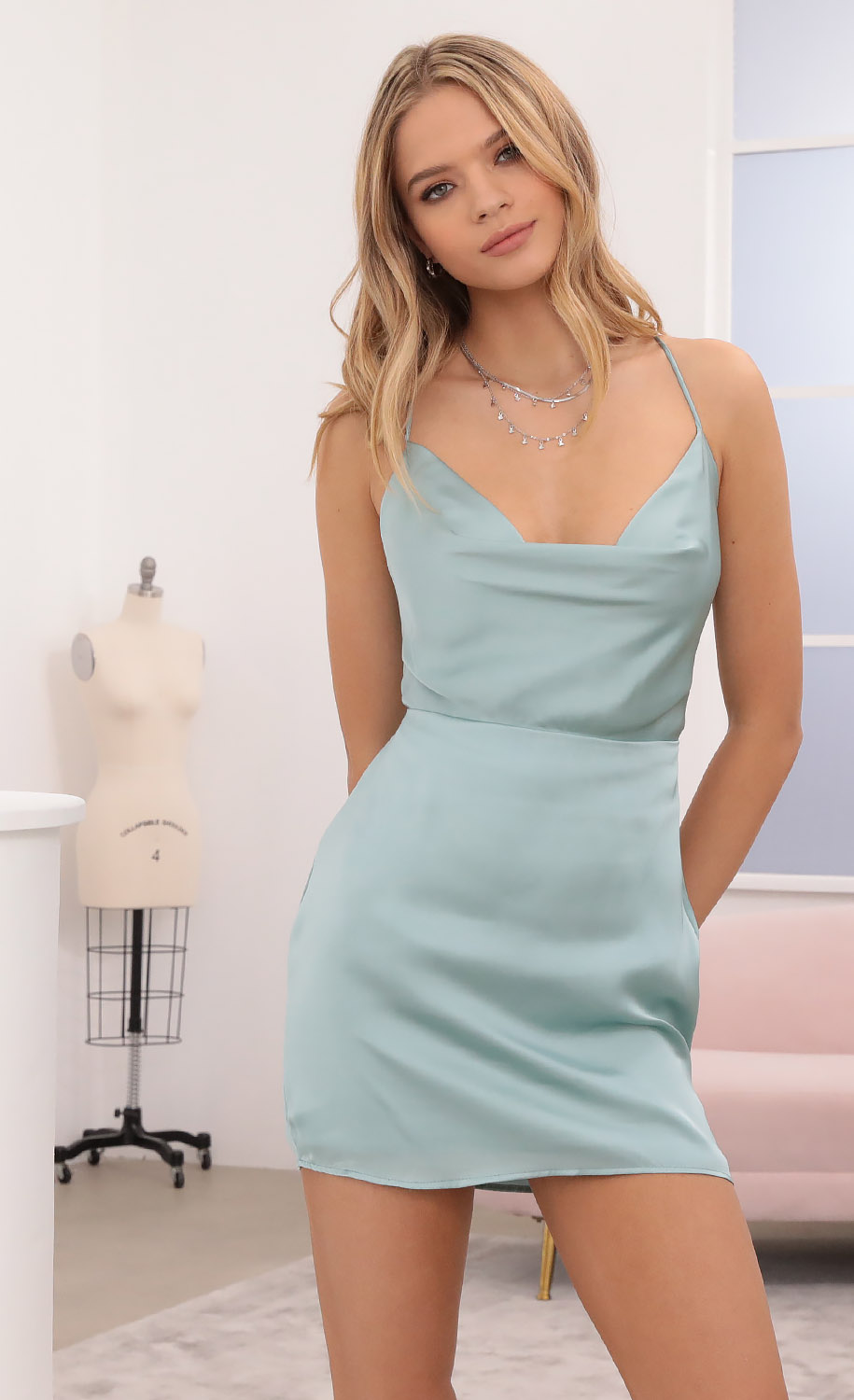 Sunkissed Satin Cowl Neck Dress in Mint