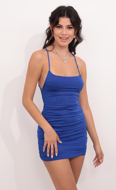 Rhythm Cross Back Bodycon Dress in Royal Blue Shimmer