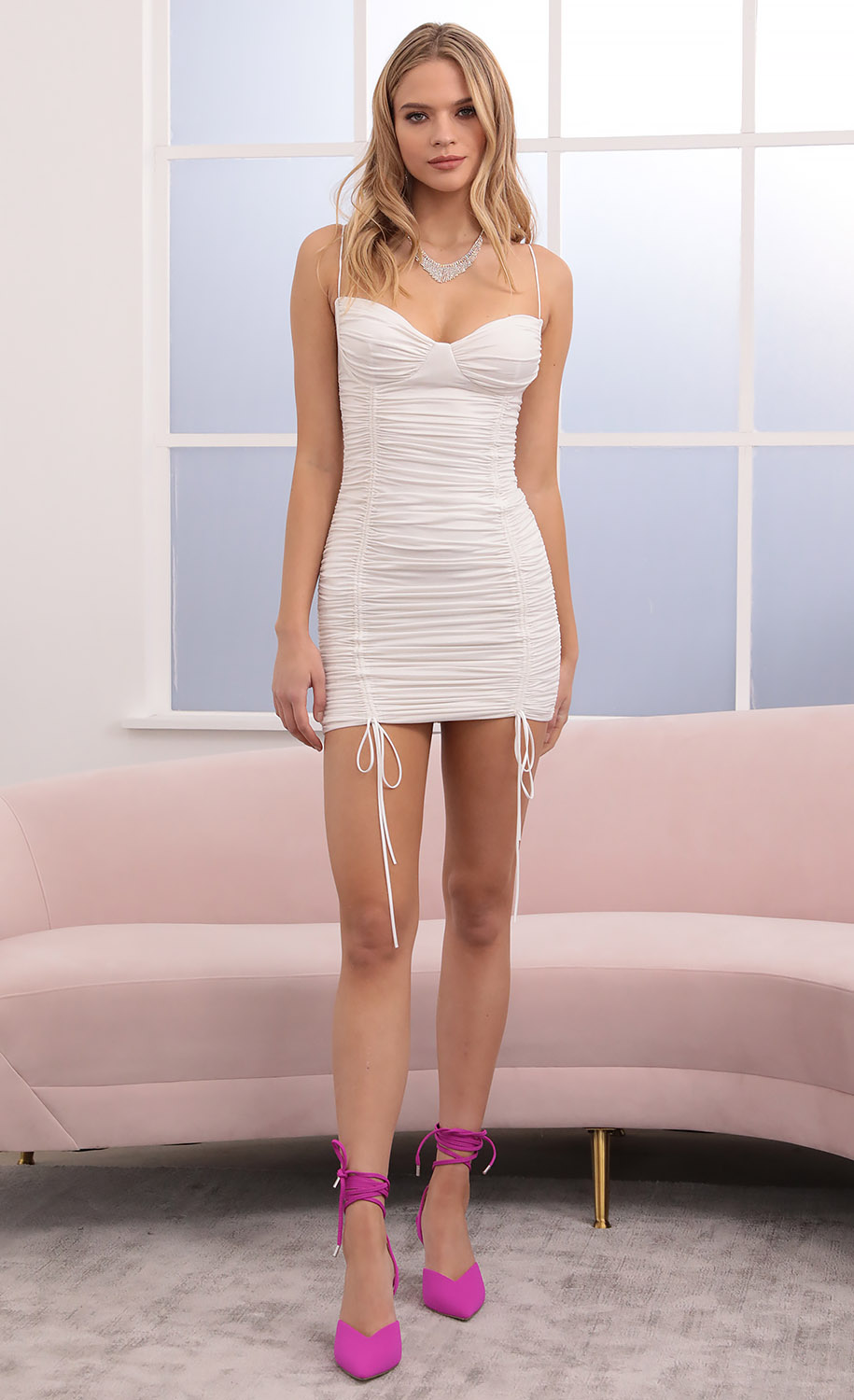 Angelina Ruched Bodycon Dress in Ivory Shimmer