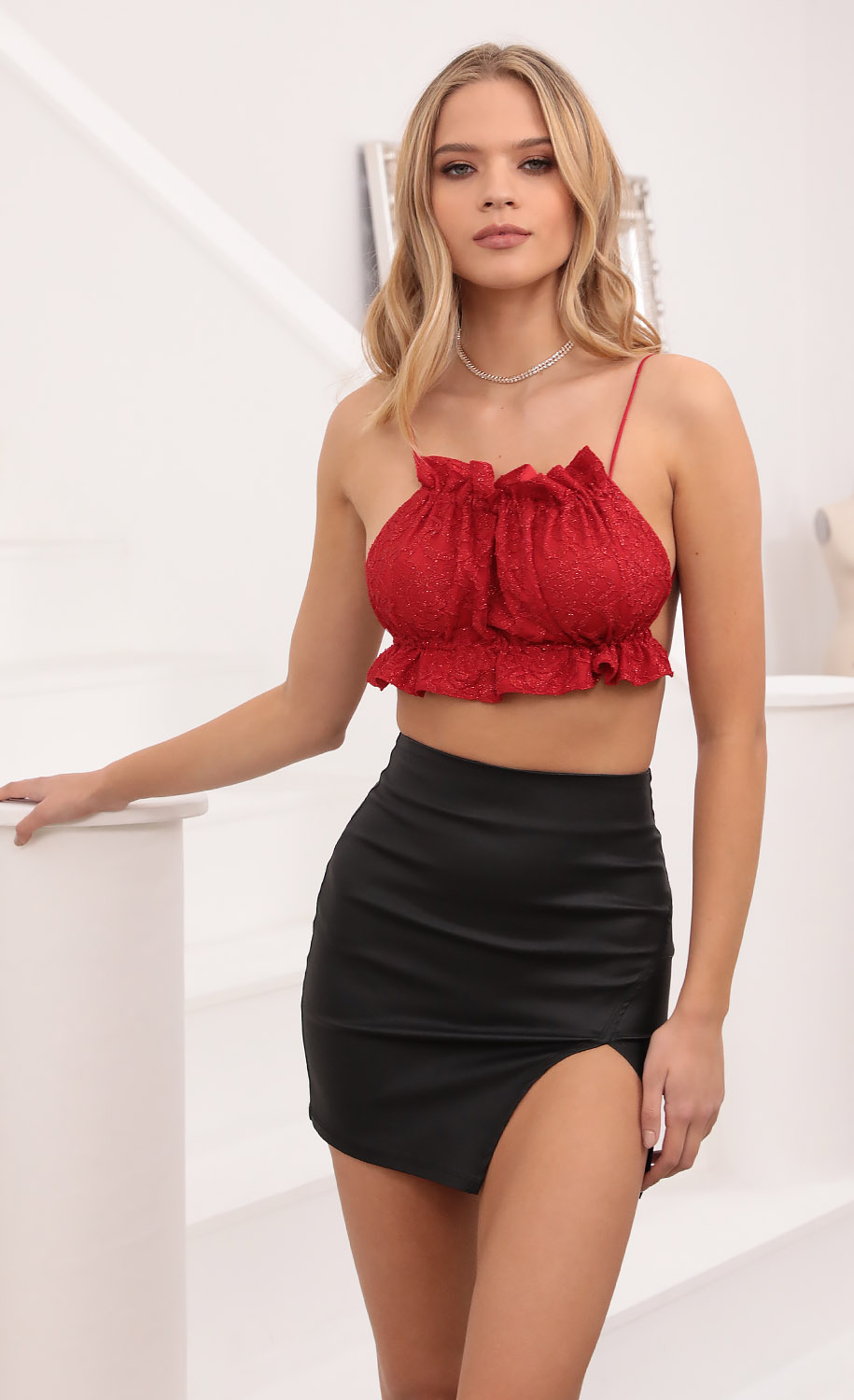 True Romance Bandeau in Red Shimmer Lace