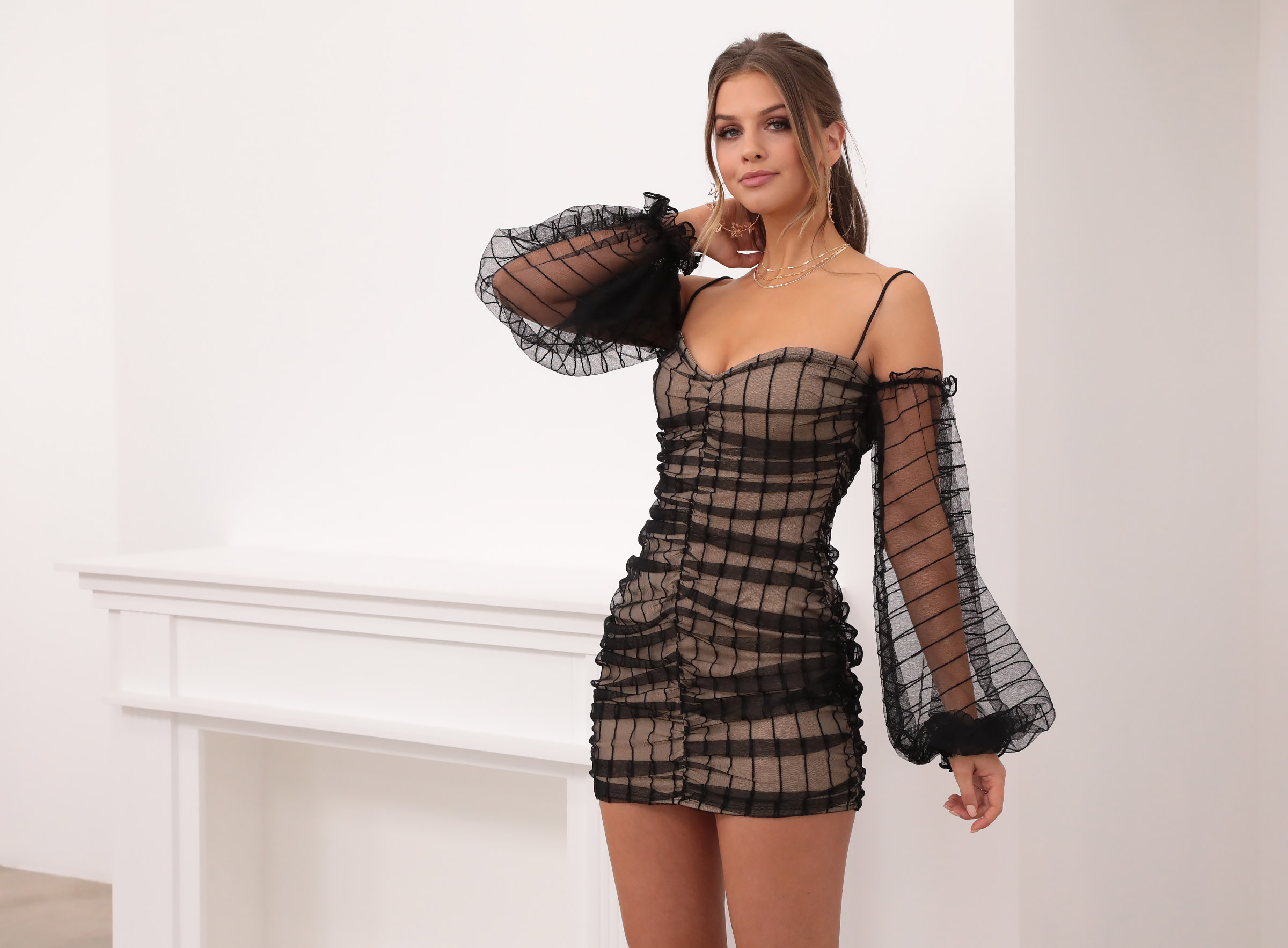 Natalia Mesh Draped Dress in Black