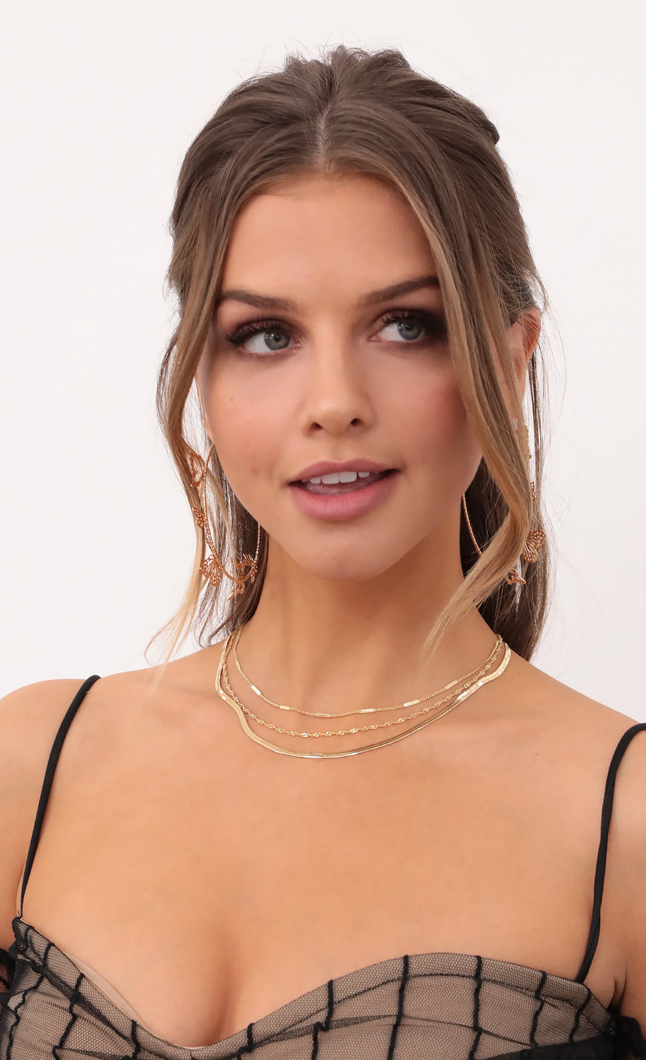 Gold Snake Chain Necklace Set